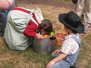 Little House on the Prairie Birthday Party: bobbing for apples