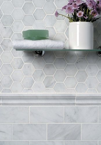 from Modern Country Style blog: MCS loves.....hexagonal mosaic tiles