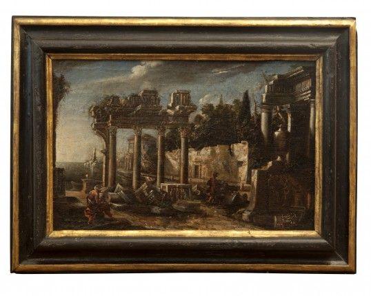 Paesaggio con rovine.Maestro Romano Sec XVII