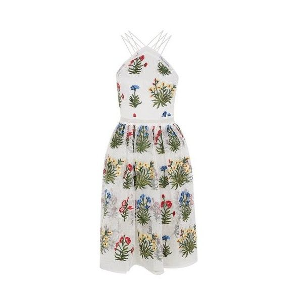 Floral Embroidered Prom Dress by Rare (€79) ❤ liked on Polyvore featuring dresses, white, multi color prom dress, strappy dress, white mesh dress, mesh prom dress and colorful prom dresses