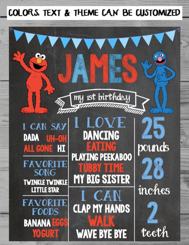 A personal favorite from my Etsy shop https://www.etsy.com/listing/273409586/elmo-birthday-chalkboard-sign-first