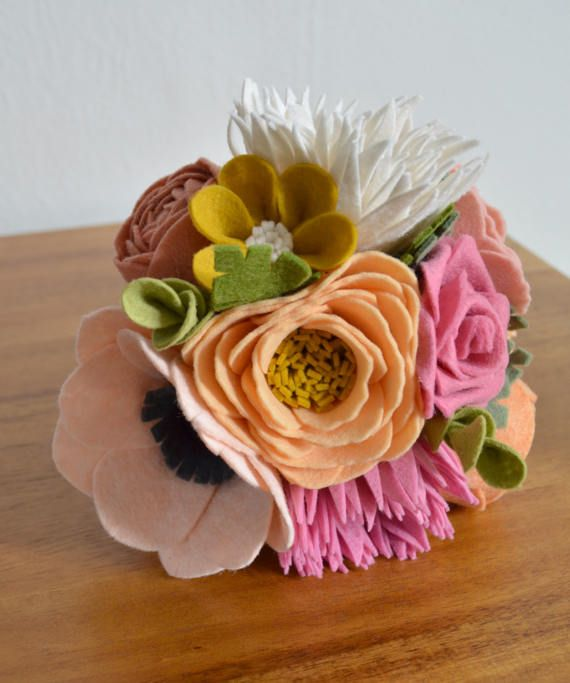 Heirloom Felt Flower Bouquet Rose Peony Dahlia Wildflower
