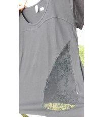 Černé dámské volné tričko se slzou.