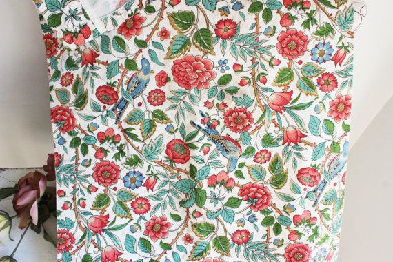 Vintage Curtain Panel Valance / Chintz Novelty Print/ Twill Curtain / Home Decor / Window Treatment / Shabby Cottage Chic Single valance panel, circa midcentury. Pretty floral and bird chintz pattern in red, blue and green on a white background. Measures approx. 55 x 18 . Great vintage condition, there are a couple of faint shadows in one area, Ive shown a photo of these, the second photo .  Please note that many of my items are vintage and/or made using vintage ...