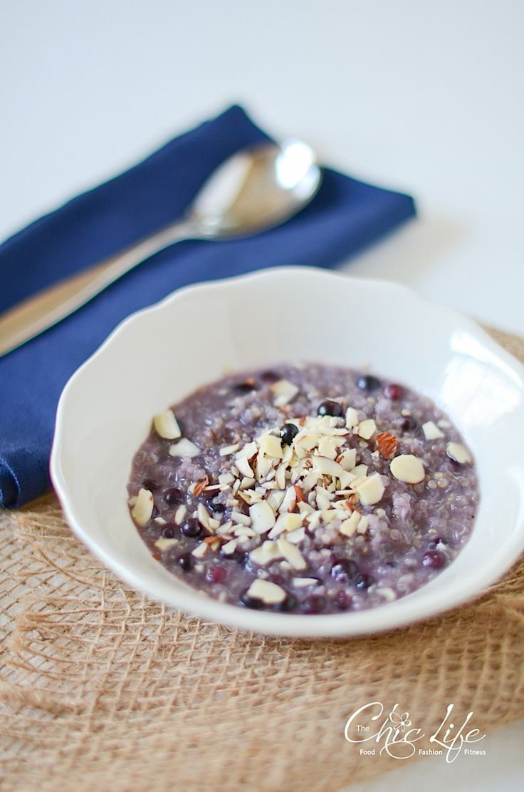 hot blueberry breakfast quinoa