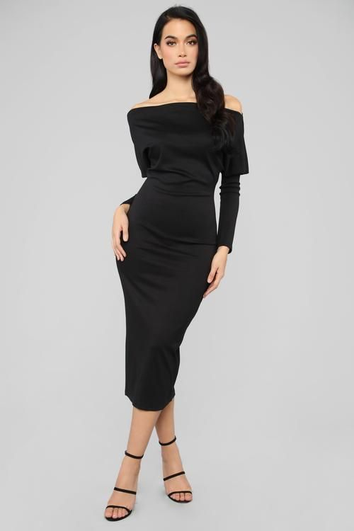 f6a0dc7542a9 Very Classy Off Shoulder Midi Dress - Black   Clothes to Wear When ...