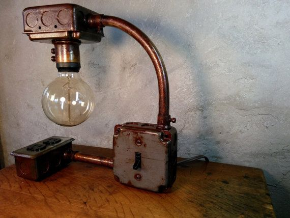 Steampunk industrial lighting metal lamp upcycled for Pipe lamp plans