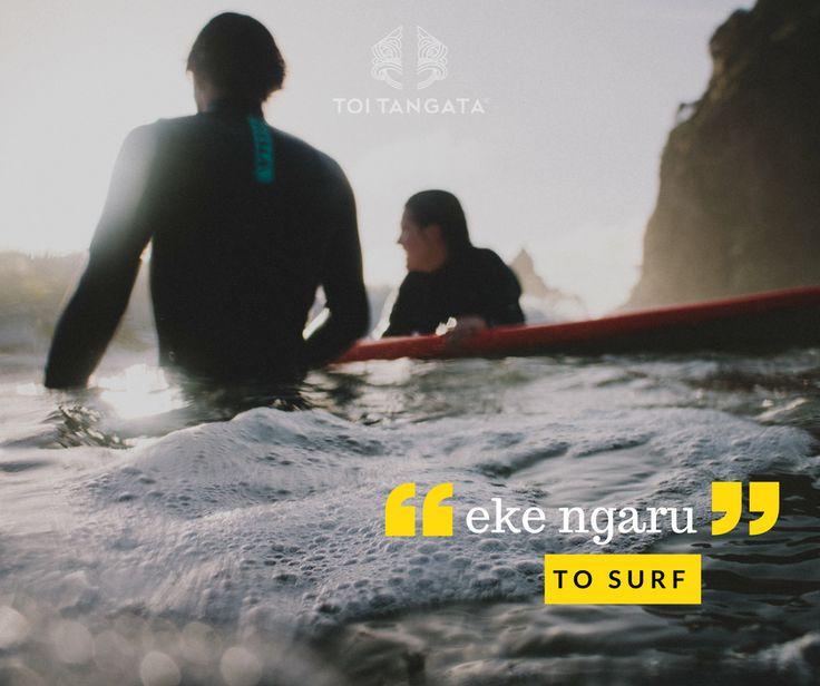 """""""Kāore e tua atu i te mahi eke ngaru i mua tata tonu i te parakuihi."""" There is nothing better than catching a few waves just before breakfast. Kupu o te wiki: eke ngaru. To surf. #toitangata #kupuotewiki #wordoftheweek #tereo #Māori #ekengaru #surfing #summerishere"""
