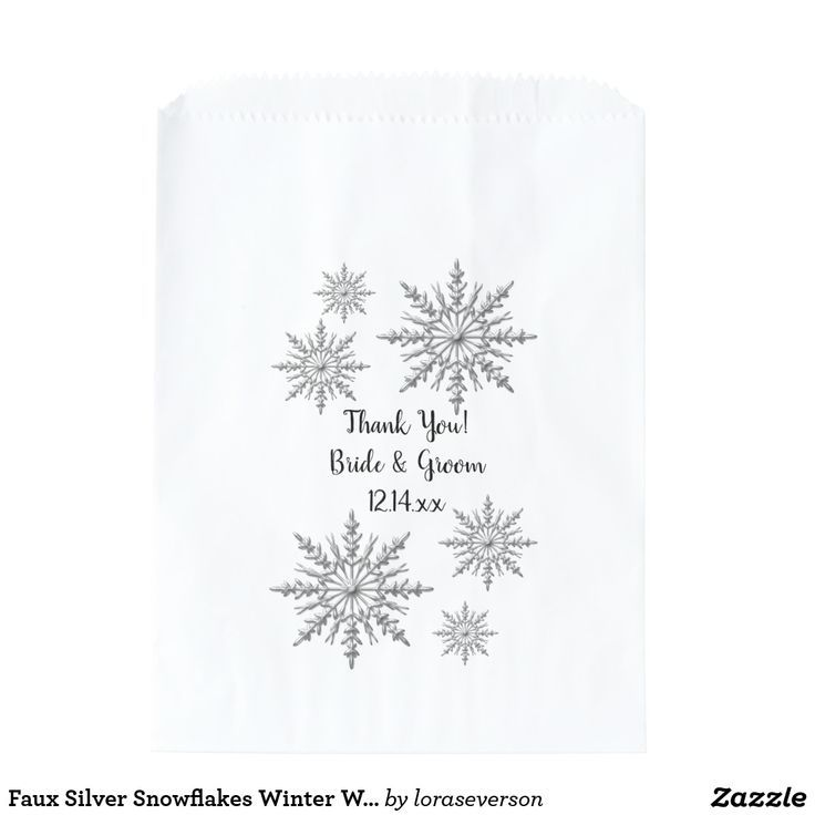 Faux Silver Snowflakes Winter Wedding Thank You Favor Bag Use these Faux Silver Snowflakes Winter Wedding Thank You Favor Bags at your classy December, January or February winter wonderland theme engagement party, bridal shower or marriage reception. These elegant custom wintery wedding thank you bags feature silver tone snowflakes with a white background.  #winterwedding #favorbags