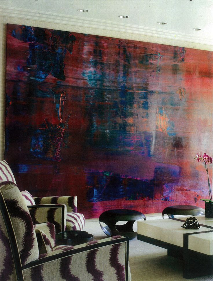 Arm chairs in ivory & Merlot fabric + abstract art in tones of Crimson, cobalt & everything in between