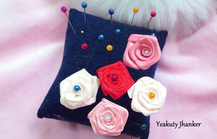 Ribbon rose- hijab pin, stick pin or hat pin