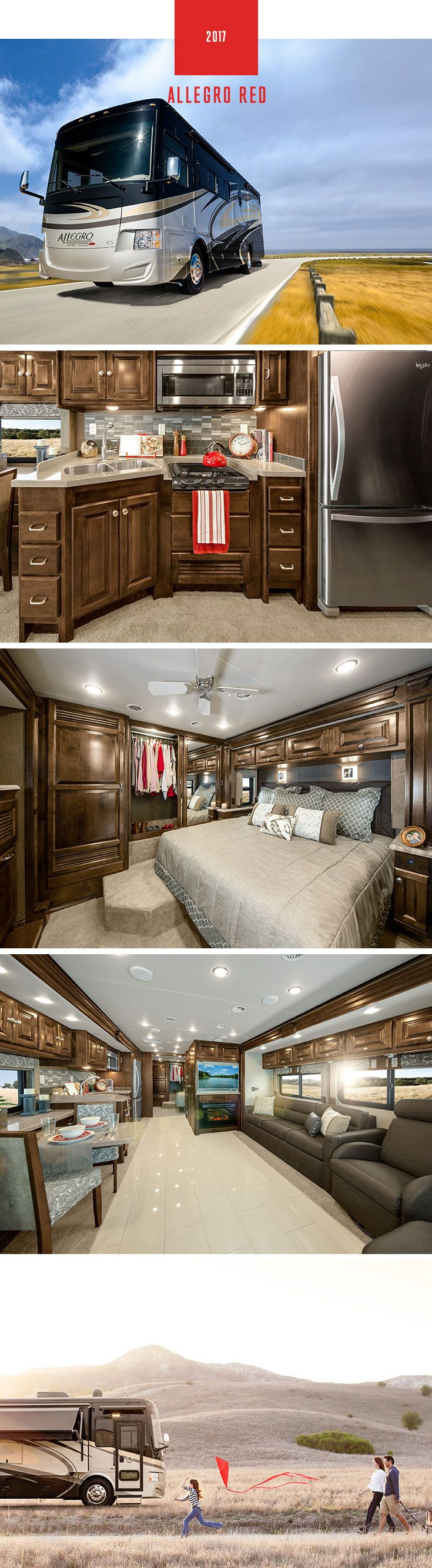 Where can you find an all-in-one, affordable, luxury coach? A Tiffin Motorhome. Shown: 2017 Allegro RED 33 AA floor plan with Mocha Cabinets & Truffle Interior. Great for first-time RV travelers looking for a fuel efficient rear engine diesel coach.