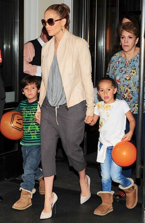 Jennifer Lopez has a family day with her twins Max and Emme on May 13, 2014