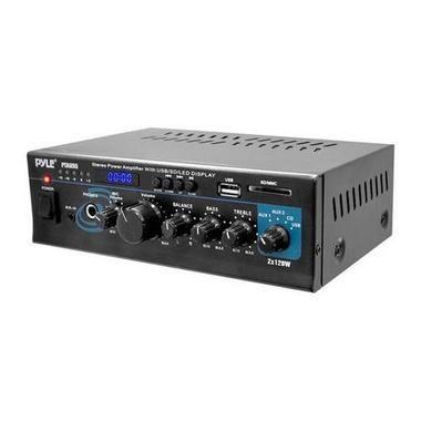 Stereo Power Amplifier - 2 x 120 Watt with Blue LED Display, USB/SD/MMC CARD, AUX, CD & Mic Inputs W290-RBPTAU55