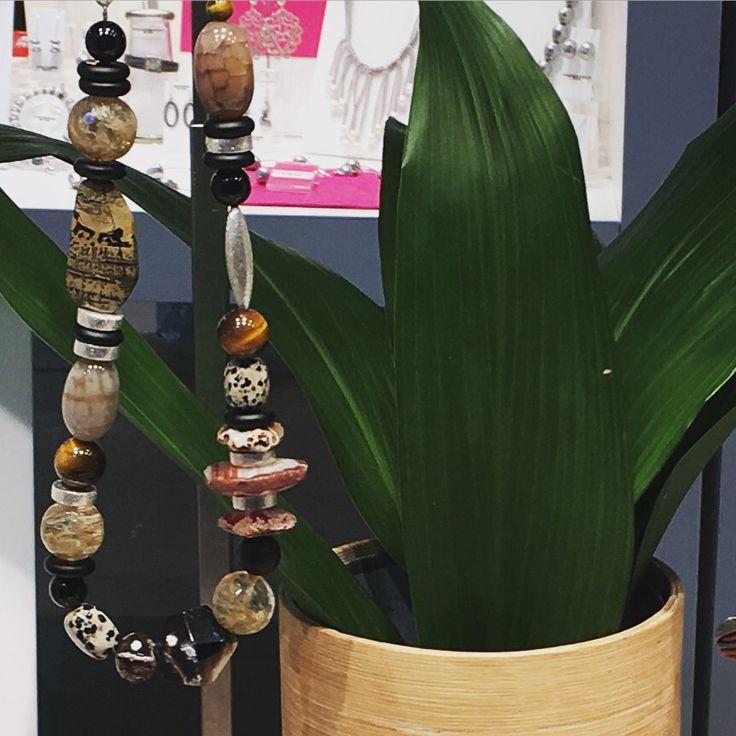 Moko necklace - handmade in Melbourne Australia - agate, jade, jasper and silver necklace. www.moko.co