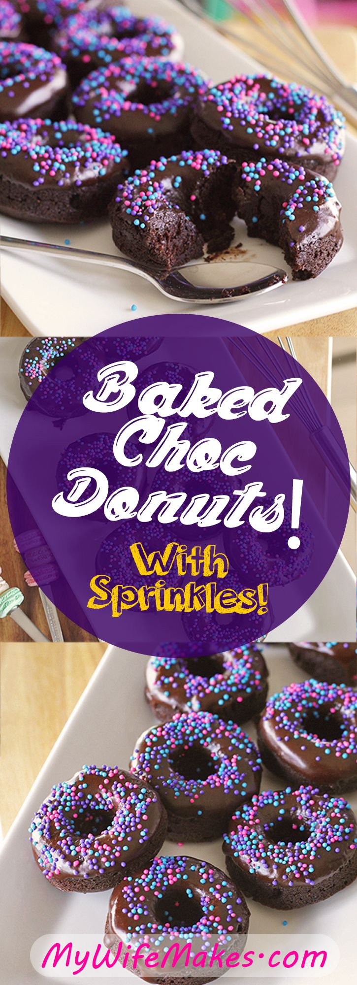 Baked Chocolate Donuts (Not Fried!). Healthier, without sacrificing an ounce of taste! Sprinkles add that lovely extra crunch with every bite. Simple to prepare, perfect for parties! One bite is not enough. (A vegan recipe.)