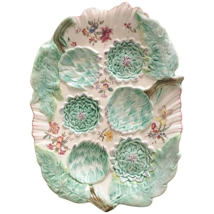 19th Century Rare Majolica Artichoke Platter Longchamp | From a unique collection of antique and modern platters and serveware at https://www.1stdibs.com/furniture/dining-entertaining/platters-serveware/