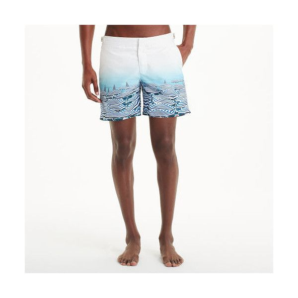 Club Monaco Orlebar Brown Photo Print Swim ($345) ❤ liked on Polyvore featuring men's fashion, men's clothing, men's swimwear, blue, mens trunks, mens swimming trunks, mens swim trunks, mens short swimwear and mens short swim trunks