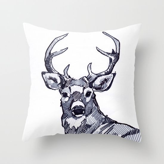 Marie-Eve Arpin - Art. Deer. Throw Pillow. 2015. https://www.facebook.com/MarieEveArpinArt