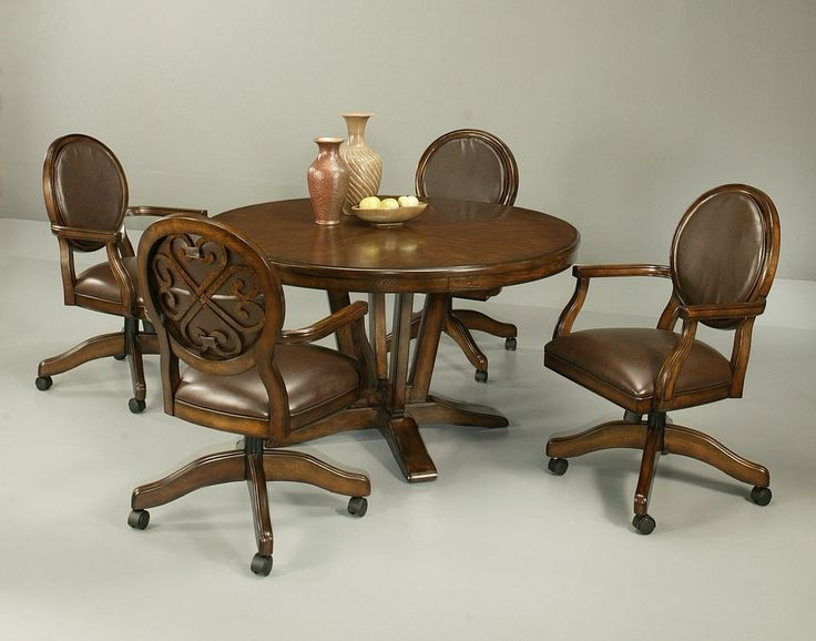 Pastel Furniture Devon Coast 5 Piece Distressed Cherry Dining Table Set With Caster Chairs At Hayneedle