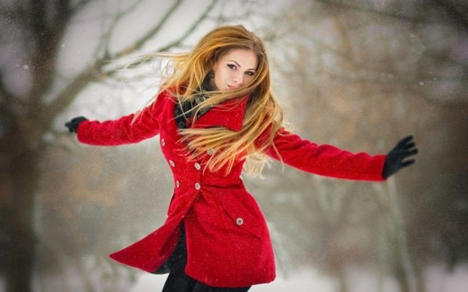 #winter #jump #smile #style #longhair #red #fashion #style