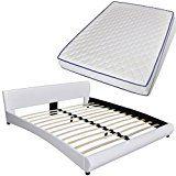 vidaXL Lit courbe de cuir artificiel blanc 180x 200cm  matelas mémoire de forme