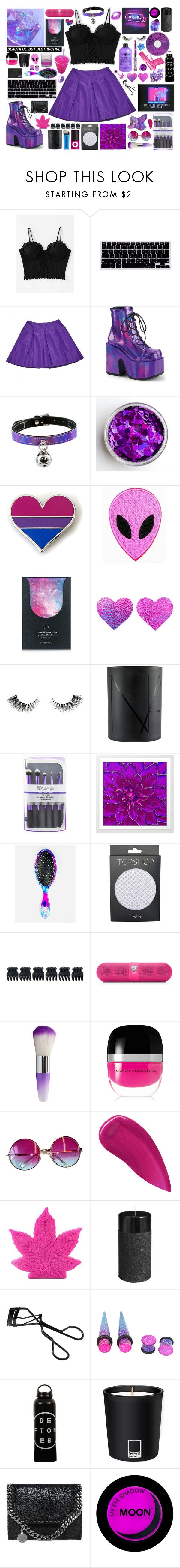 """""""Succubus"""" by wisteriablossom ❤ liked on Polyvore featuring Prada, Demonia, Petite Amie, Artémes, NARS Cosmetics, The Wet Brush, Topshop, Accessorize, Beats by Dr. Dre and philosophy"""