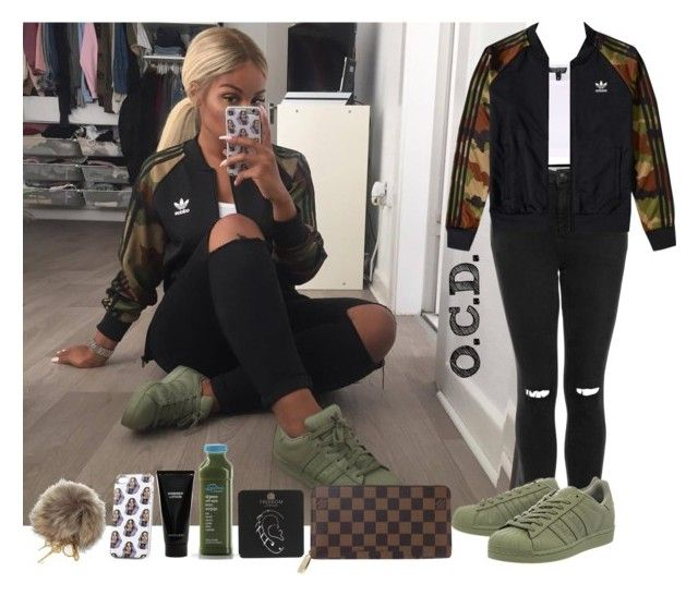 """Adidas Camo Jacket."" by oreocaker ❤ liked on Polyvore featuring Topshop, adidas, Witchery, Louis Vuitton and Dolce&Gabbana"