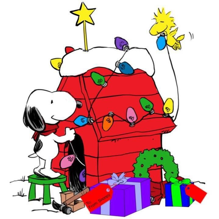 Snoopy Decorating His Dog House With Help From Woodstock Snoopy