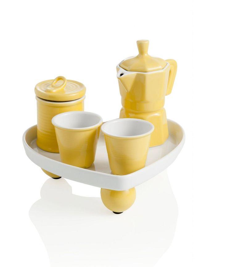 Il Coffee set di Brandani è un simpatico servizio per caffe perfetto per una pausa a due. La zuccheriera, la caffettiera i 2 bicchierini e i...