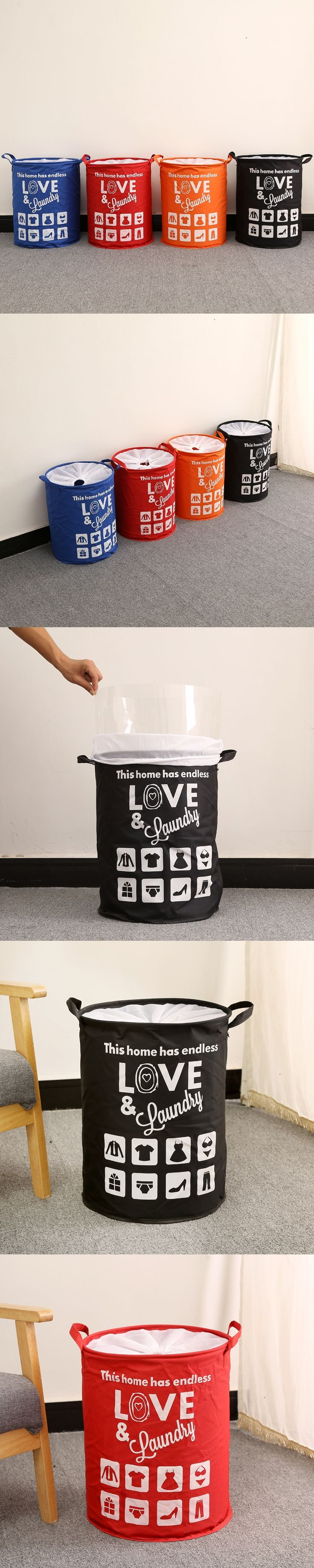 Black Laundry Basket With Cover Washing Laundry Bag Oxford Hamper Storage Dirty Clothing Bags Toy Storage Bag