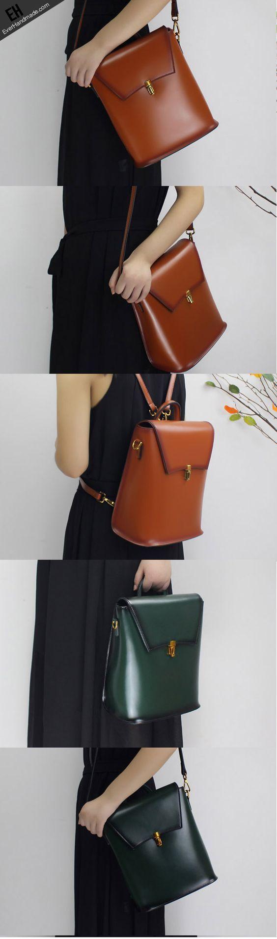 Genuine Leather backpack bag shoulder bag black brown