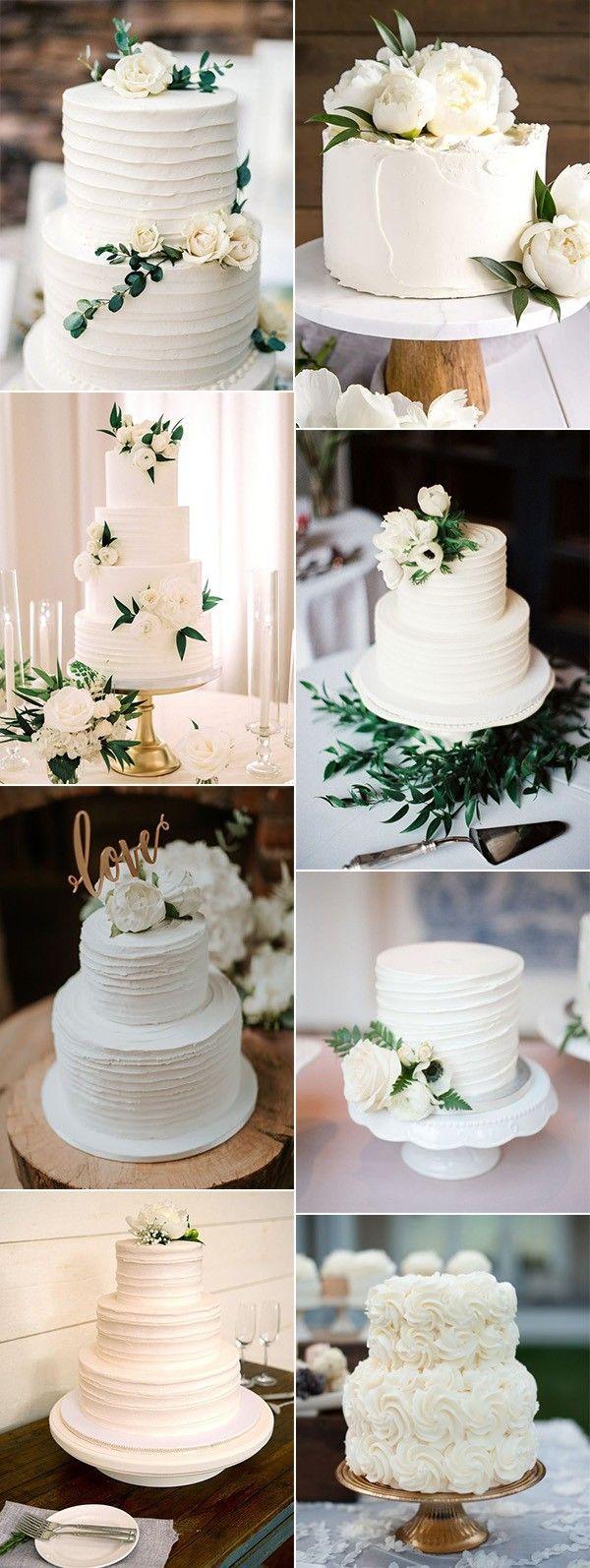 einfache elegante weiße und grüne Hochzeitstorten für Frühlingssommer 2019   – wedding