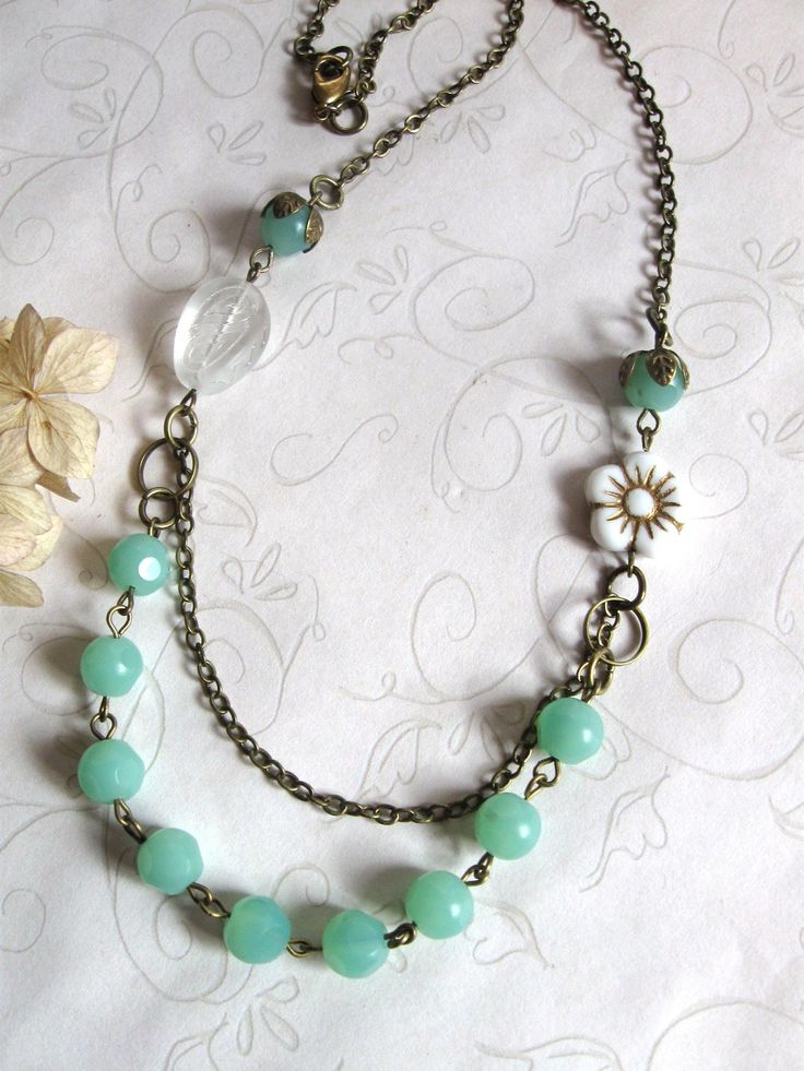 Mint Green Necklace - shabby chic jewelry - white flower - vintage style