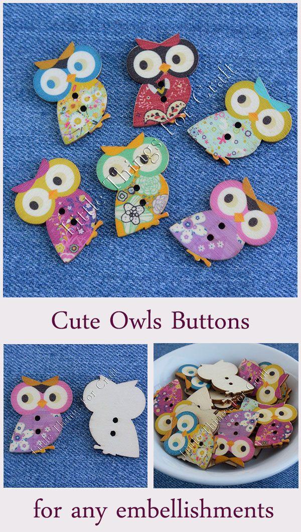 Large wooden owl buttons embellishments Wood owls craft bulk