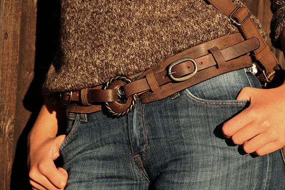 Brown leather belt for women with buckles and by WestDepartment, $36.00