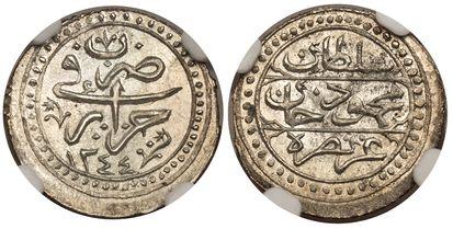 ALGERIA. Algiers. Mahmud II. (Sultan of the Ottoman Empire, 1808-1839). 1244 AR 1/8 Budju, Suman Budju. NGC MS66. Arabic inscription above date within decorative border / Arabic inscription above date within decorative border. KM 74. Please use thi