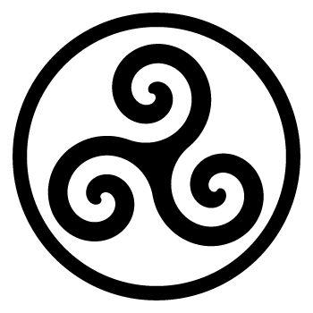 TRISKEL. L'eau, la terre et le feu.  Le Triskell, avec ses courbes, est symbole de dynamisme, d'enthousiasme, contrairement aux croix figées. Les branches d'un Triskell doivent toujours tourner dans le sens inverse des aiguilles d'une montre, qui est le sens sacré (paix).vLorsque les branches d'un Triskell tournent dans l'autre sens, on dit que c'est signe de conflit (sens maléfique). Symbole Interceltique le plus rependu. Son origine est très ancienne, antérieure à -400 av JC