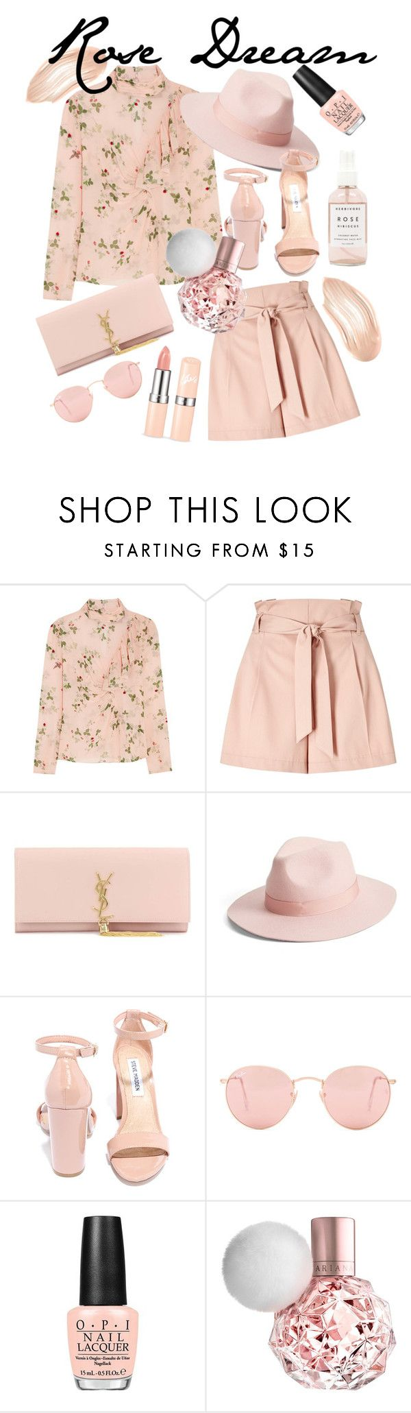 """Rose Dream"" by stylebycharlene on Polyvore featuring Topshop Unique, Miss Selfridge, Yves Saint Laurent, Lack of Color, Steve Madden, Ray-Ban, OPI and Herbivore"