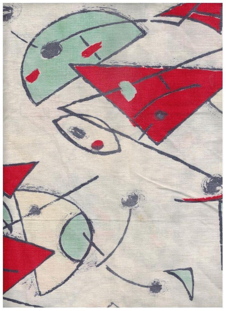 Rideau tissu coton motif spatial atomique sur fond blanc vintage ann es 50 - Tissu vintage annees 50 ...