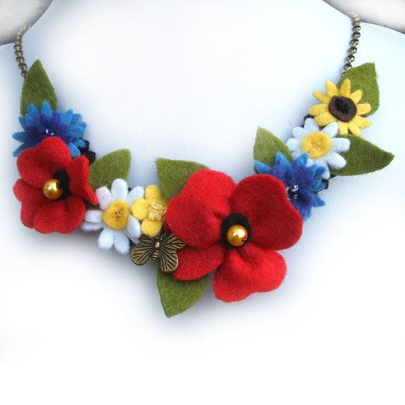Wildflower Necklace Red Poppy Cornflowers by CraftyJoDesigns