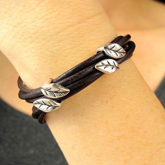 Natural Bracelet-Boho Leather Bracelets for Women-Leaf Bracelet-Womens Leather Bracelets-Boho Bracelet Cuff-Womens Gift-Bracelet for Women $39.99