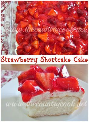 Strawberry Shortcake Cake yellow/white cake mix baked according to directions. mix 1 8oz soft cream cheese, 1/2 x powder sugar, 1 8oz cool whip thawed in mixer. spread on cooled cake. cut/hull 3 cups strawberries and mix with 1 container strawberry glaze. pour over cake - store covered in the fridge.