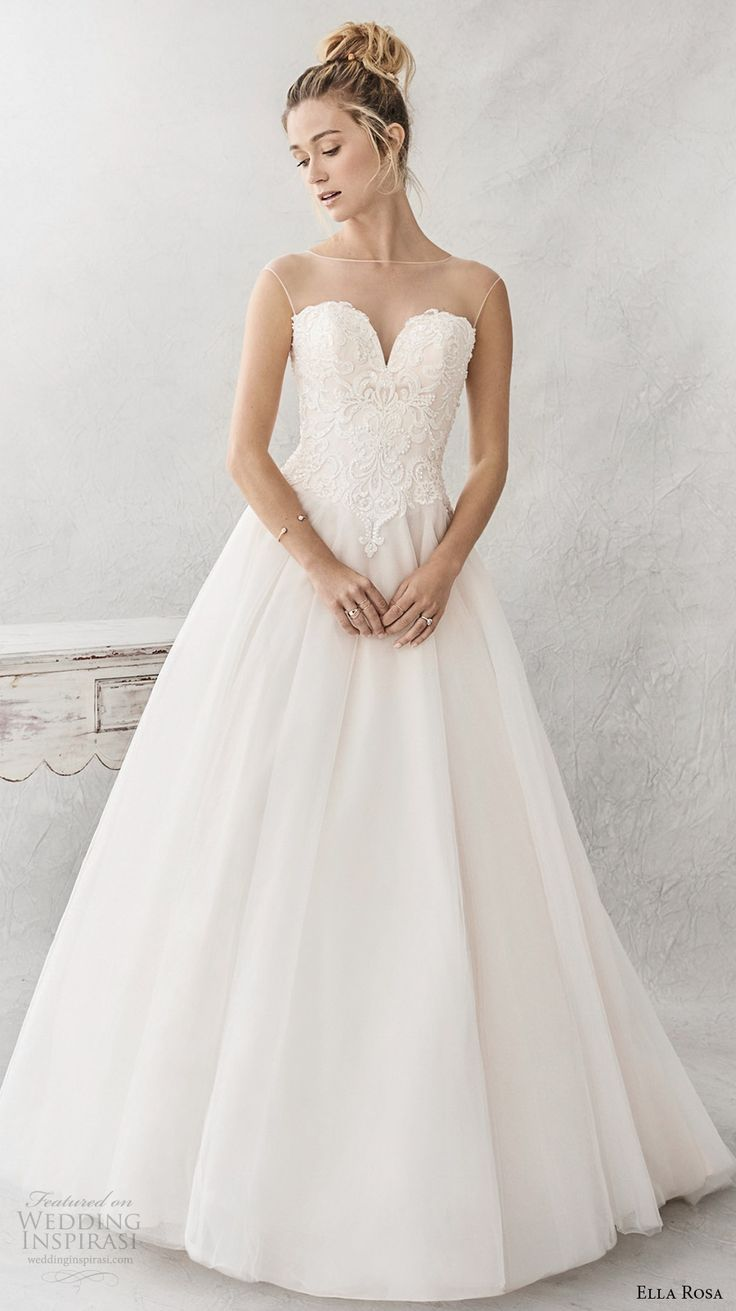 ella rosa spring 2017 bridal sleeveless illusion boat neck deep sweetheart neckline heavily embellished bodice romantic a  line wedding dress sheer back chapel train (385) mv