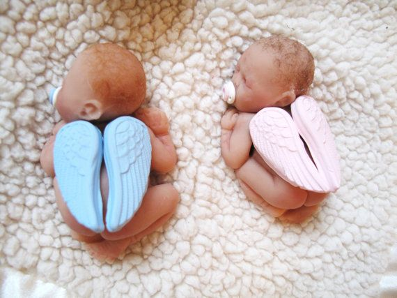 Boy Or Girl Sweet OOAK Handsculpted 3.5 Inch Polymer Clay Baby Shower Cake  Topper Keepsake Gift