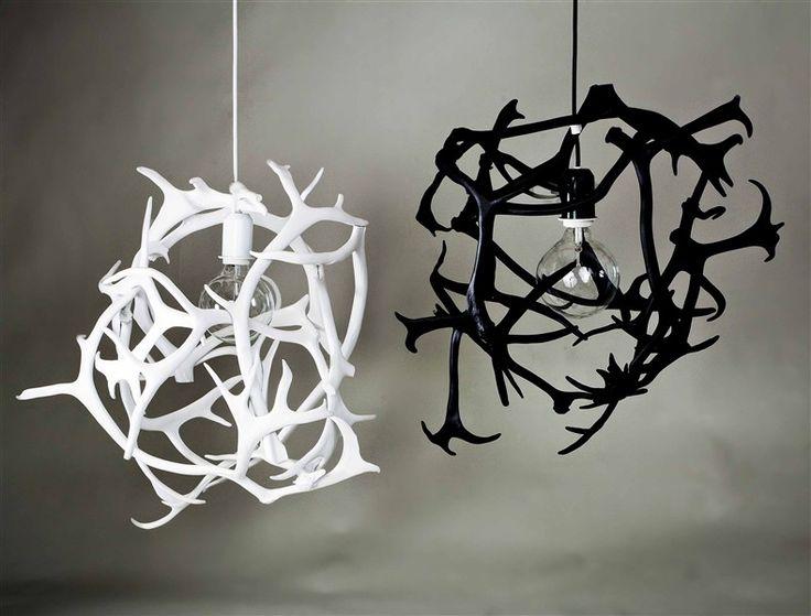 Lampa av renhorn i vitt - BEAIVI