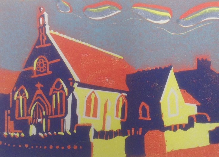 Methodist Hall  Reduction Lino cut by Lesley Brooks