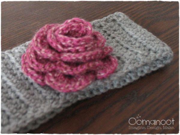 Crochet Hair Bands : Crochet Winter Hair Band with Flower