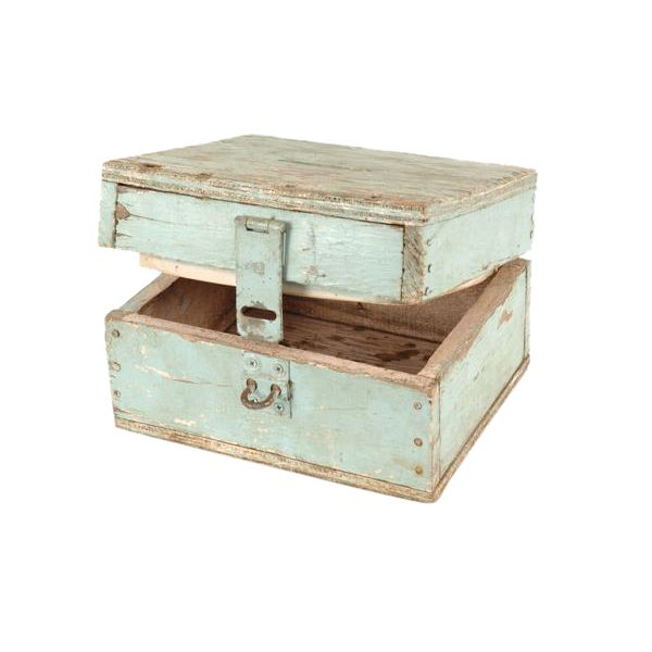 Niagara Donation Box at Found Vintage Rentals. Small chippy blue painted wooden box with slot on top and latch in front.