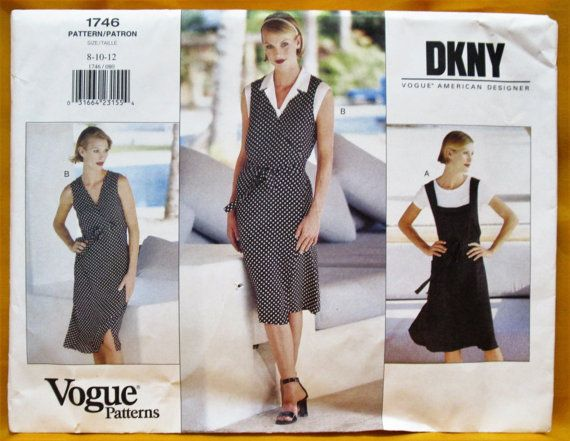 Vintage New Uncut Vogue American Designer DKNY Donna Karen Jumper & Top Sewing Pattern 1746 Misses Size 8-10-12 OOP Factory Folds, EASY!